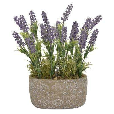12.5 in. Faux Lavender in Flower Pot in Green