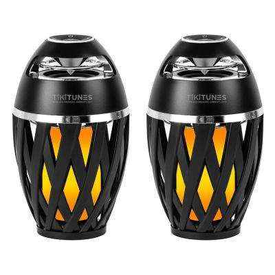 TikiTunes Black Bluetooth Speakers with LED Atmospheric Lighting Effect (2-Pack)