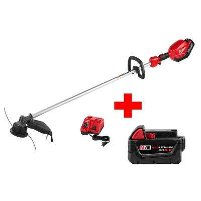 M18 FUEL 18-Volt Lithium-Ion Brushless Cordless String Trimmer 9.0Ah Battery Kit with Extra M18 5.0 AH Battery