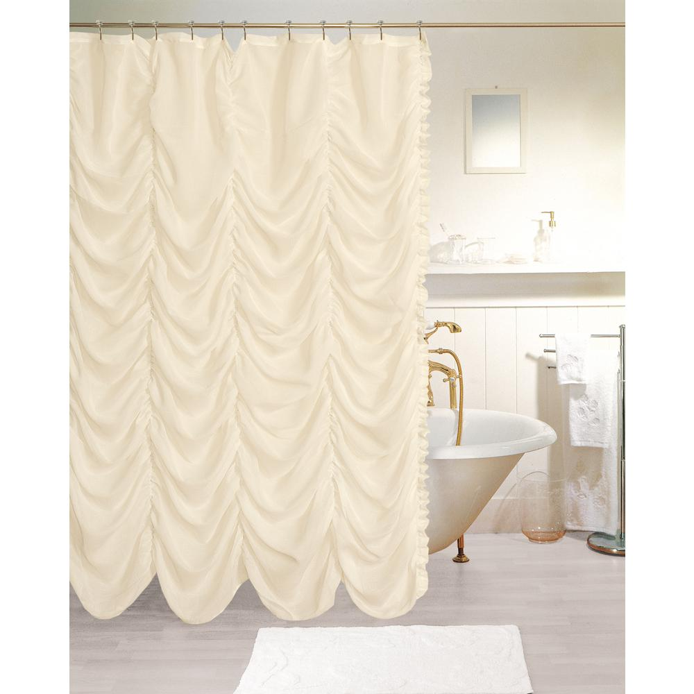 Ivory Linen Look Fabric Shower Curtain