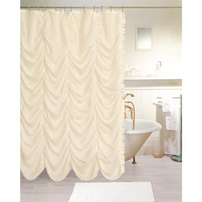 Theater 72 in. Ivory Linen-look Fabric Shower Curtain