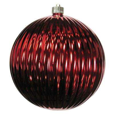 8 in. Sonic Red Shatterproof Ripple Ball Ornament (Pack of 6)