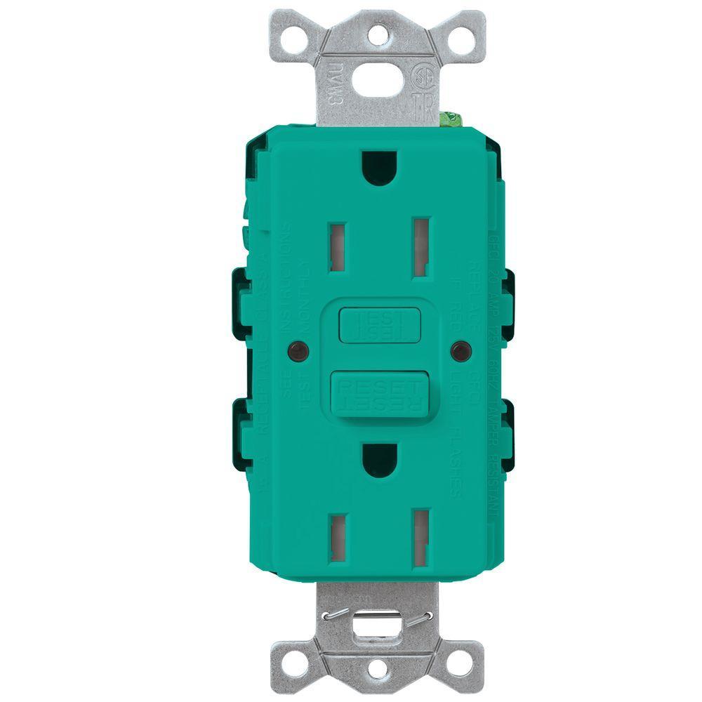 Satin Colors 15-Amp Tamper-Resistant GFCI Duplex Receptacle - Turquoise