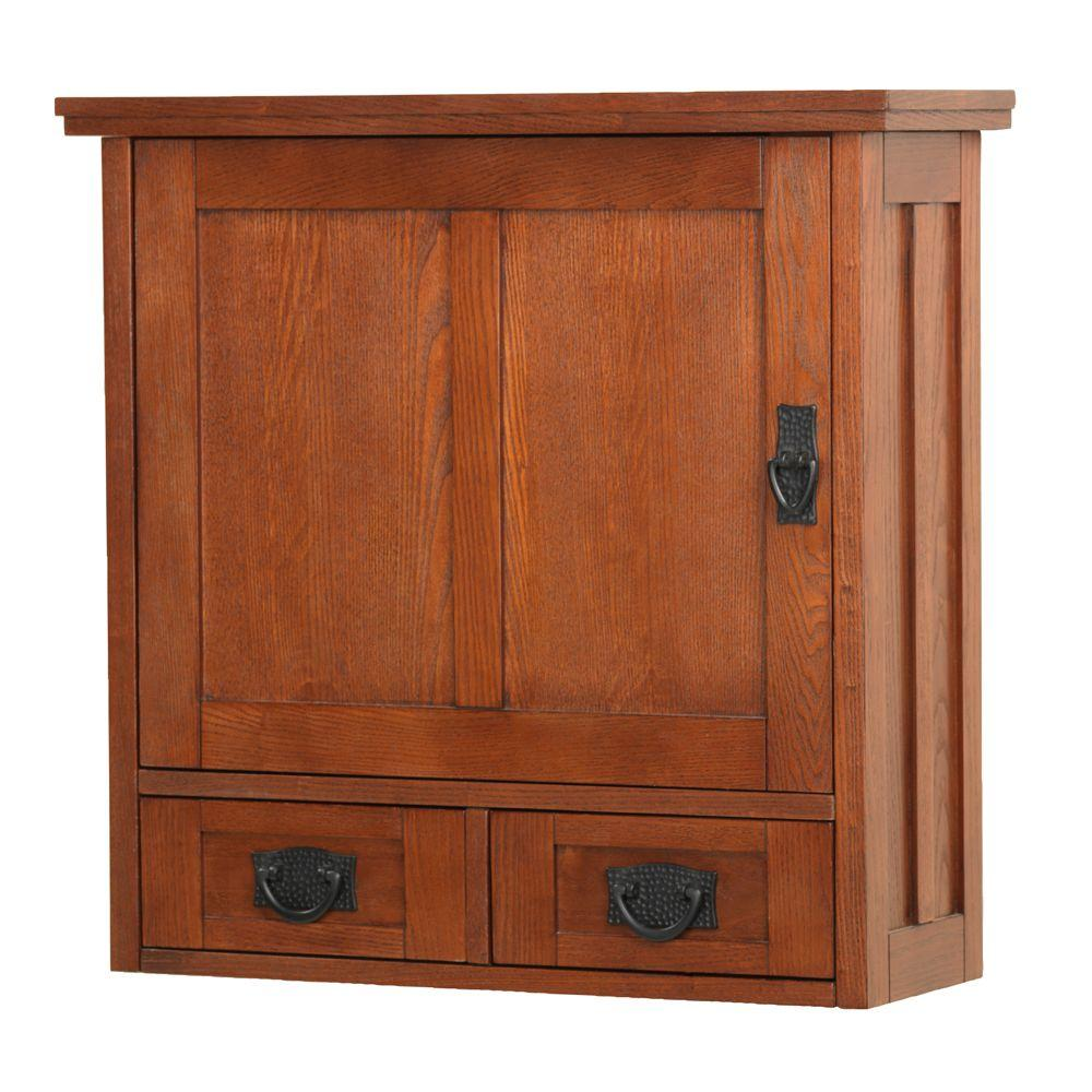 Home Decorators Collection Artisan 23.5 in. W Wood-Door Wall Cabinet in Light Oak