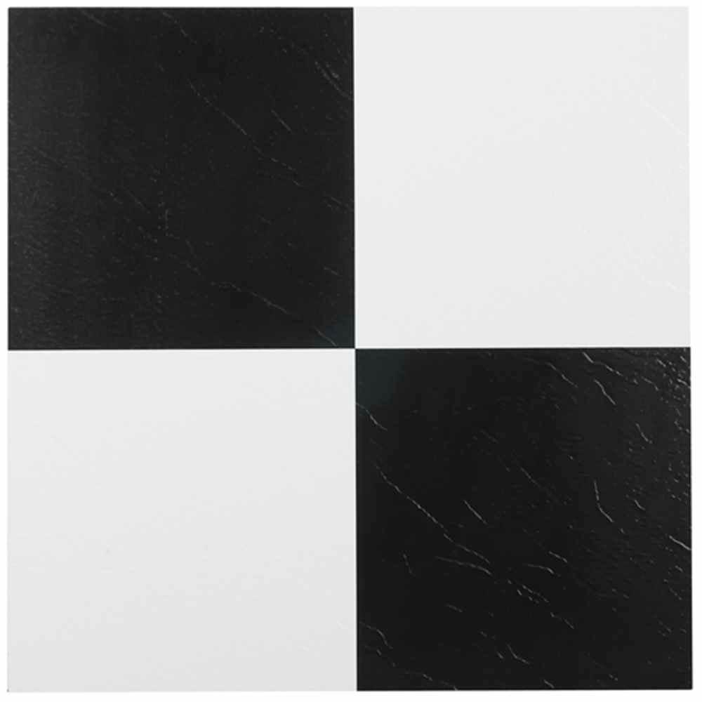 Achim nexus black and white 12 in x 12 in peel and stick for Black vinyl floor tiles