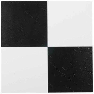 Nexus Black and White 12 in. x 12 in. Peel and Stick Checkered Pattern Vinyl Tile (20 sq. ft./case)