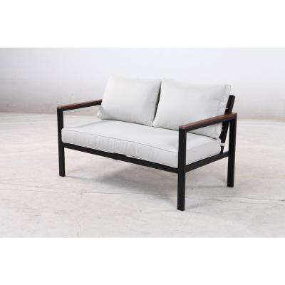 West Park Black Aluminum Outdoor Loveseat with Cushions Included, Choose Your Own Color