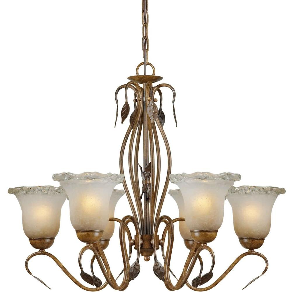 Talista 6-Light Rustic Sienna Bronze Chandelier with Umber Ice Glass Shade
