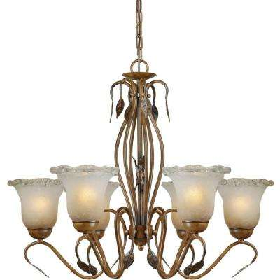 6-Light Rustic Sienna Bronze Chandelier with Umber Ice Glass Shade