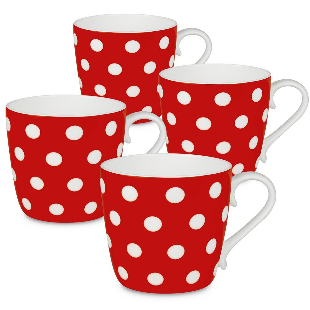 Konitz 4-Piece Polka Dots Strawberry Bone China Mug Set