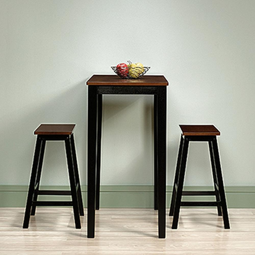 SAUDER Beginnings 3-Piece Cherry and Black Bar Table Set-416519 ...