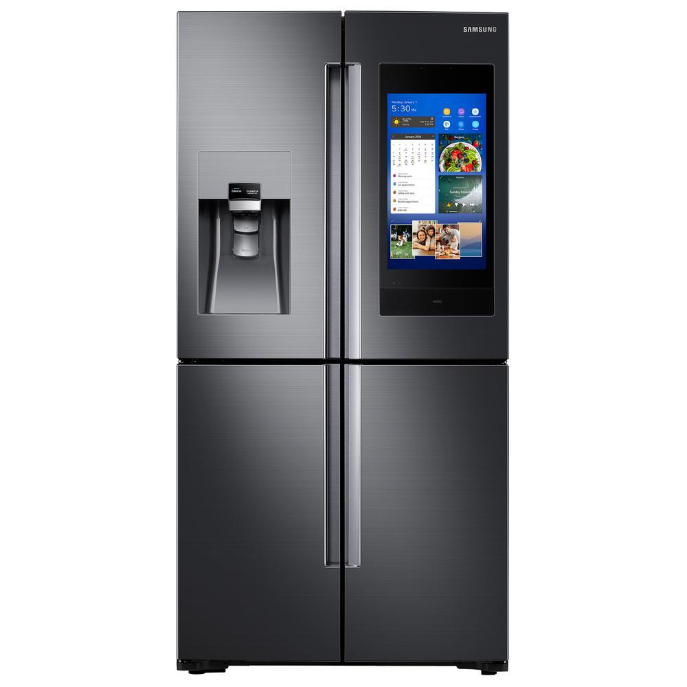 Samsung 27.9 cu. ft. Family Hub 4-Door French Door Smart Refrigerator in Fingerprint Resistant Black Stainless