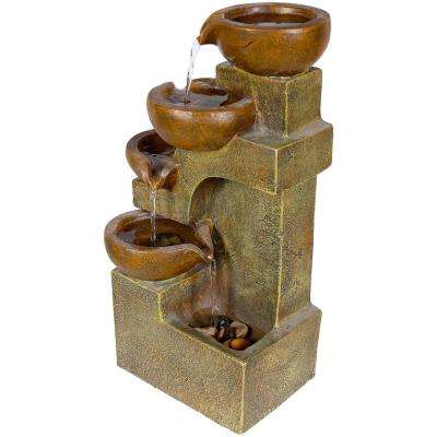 """Alpine Corporation 16"""" Tall Indoor/Outdoor Tabletop 4-Tier Pouring Pots Fountain, Brown"""