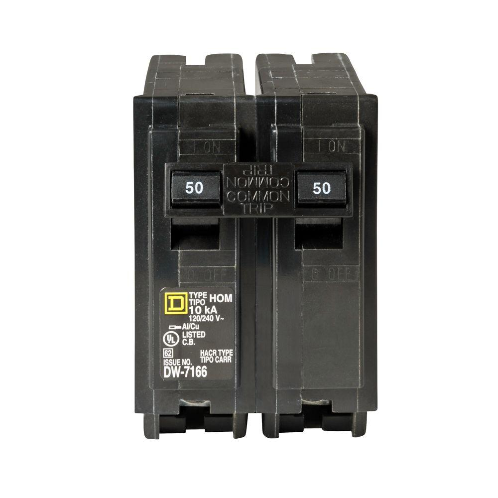 Square D Homeline 50 Amp 2 Pole Circuit Breaker Hom250cp The Home Depot