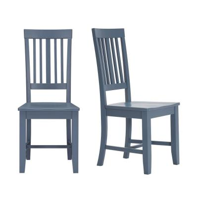 Scottsbury Steel Blue Wood Dining Chair with Slat Back (Set of 2) (16.7 in. W x 38.7 in. H)