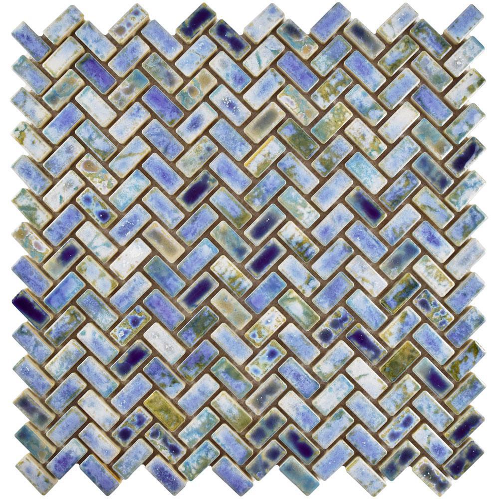 Merola Tile Rustica Herringbone Neptune Blue 11-5/8 in. x 11-5/8 ...