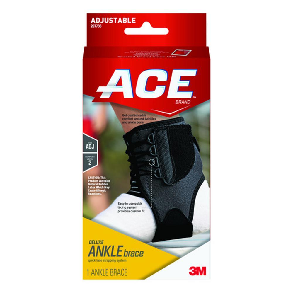 1-Size Adjustable Deluxe Ankle Brace in Black