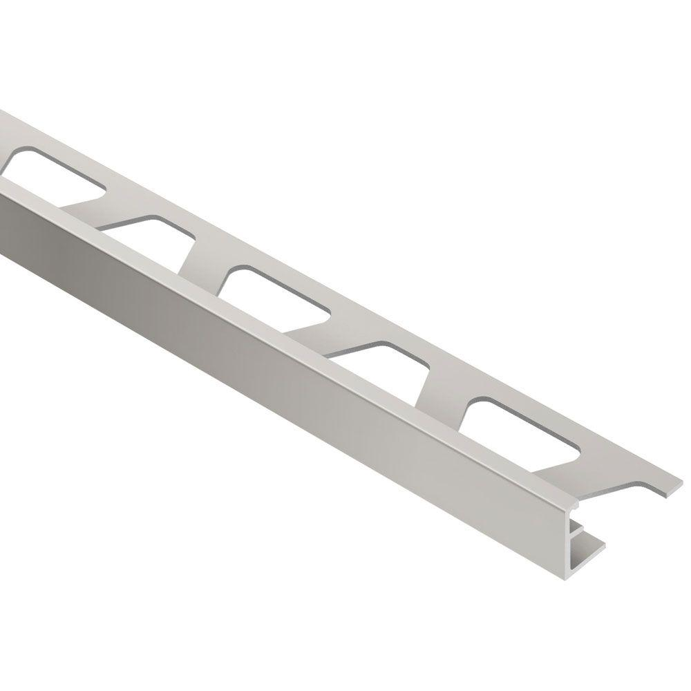 Schluter Jolly Satin Nickel Anodized Aluminum 3/8 in  x 8 ft  2-1/2 in   Metal Tile Edging Trim