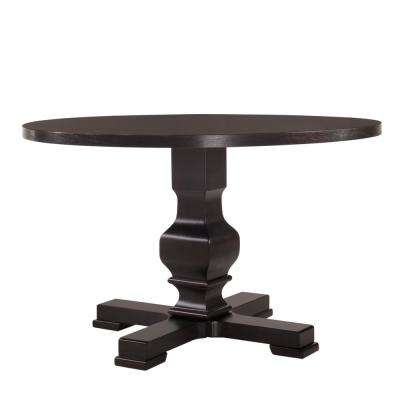 Carson 47 in. Espresso Round Pedestal Dining Table