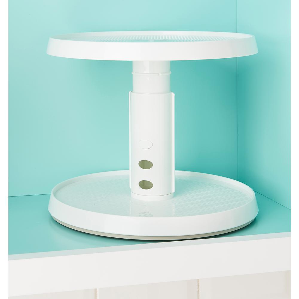 YouCopia 2 Tier Crazy Susan Turntable, White Lazy Susan Turntable