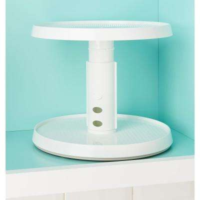 2-Tier Crazy Susan Turntable, White Lazy Susan Turntable