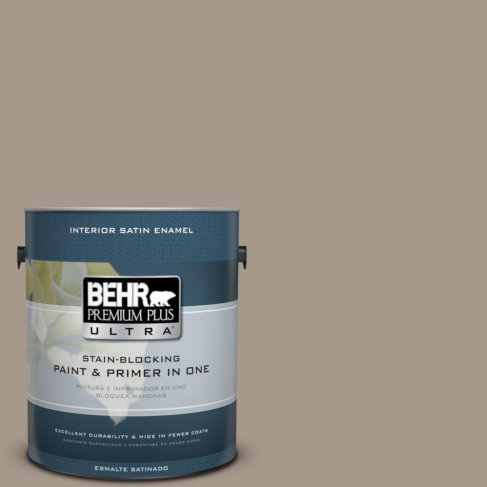 BEHR Premium Plus Ultra 1-Gal. #PPU5-7 Studio Taupe Satin Enamel Interior Paint