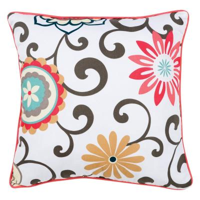 Waverly Pom Pom Play White, Coral, Aqua, Taupe, Tan, Brown Floral Polyester 16 in. x 5 in. Throw Pillow