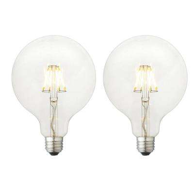 40W Equivalent Soft White G40 Clear Lens Nostalgic Globe Dimmable LED Light Bulb (2-Pack)