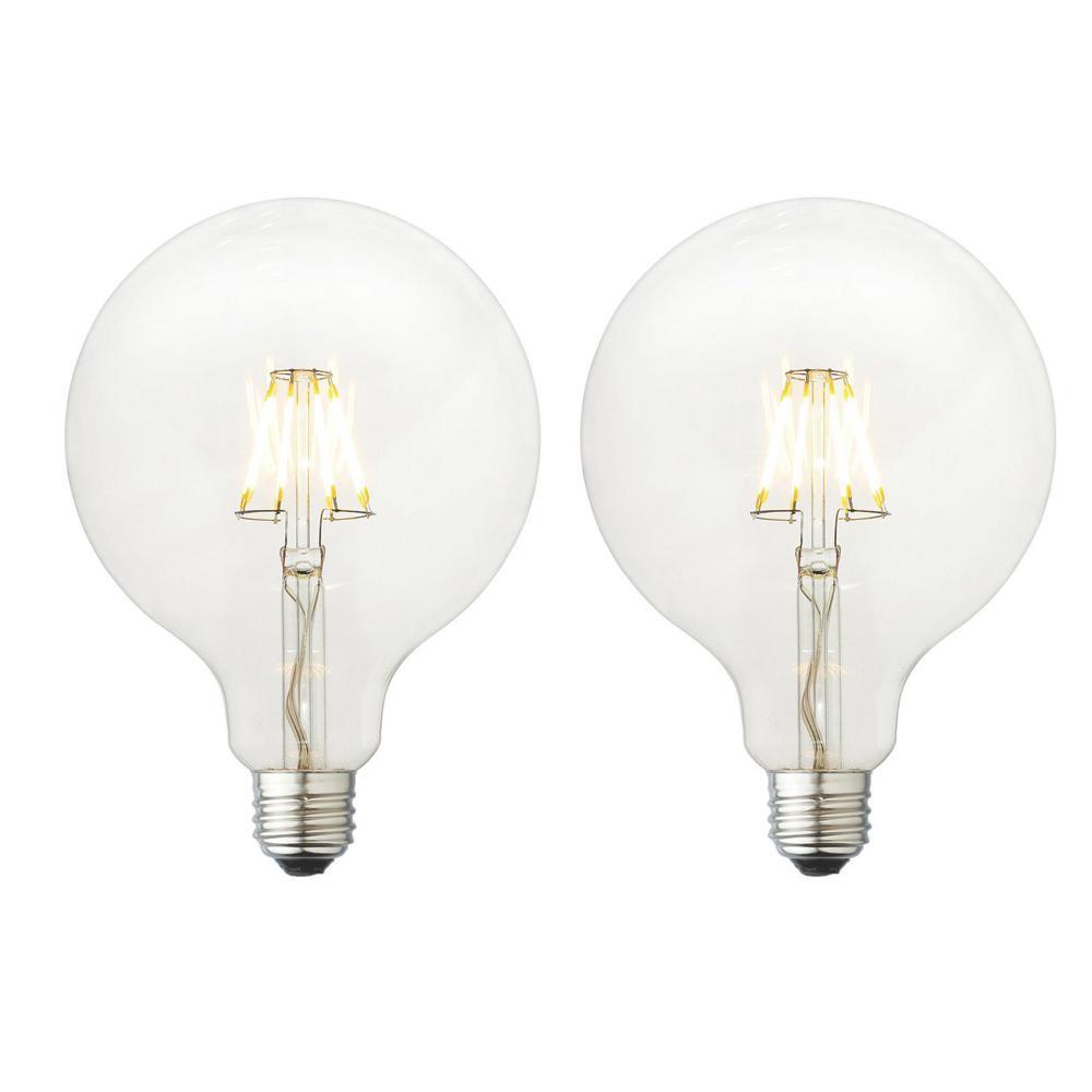 40W Equivalent Soft White G40 Clear Lens Nostalgic Globe Dimmable LED Light Bulb (2-Pack)