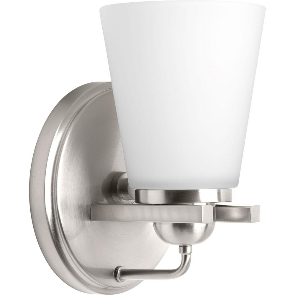 Flight Collection 1 Light Brushed Nickel Bath Sconce With Etched Glass Shade