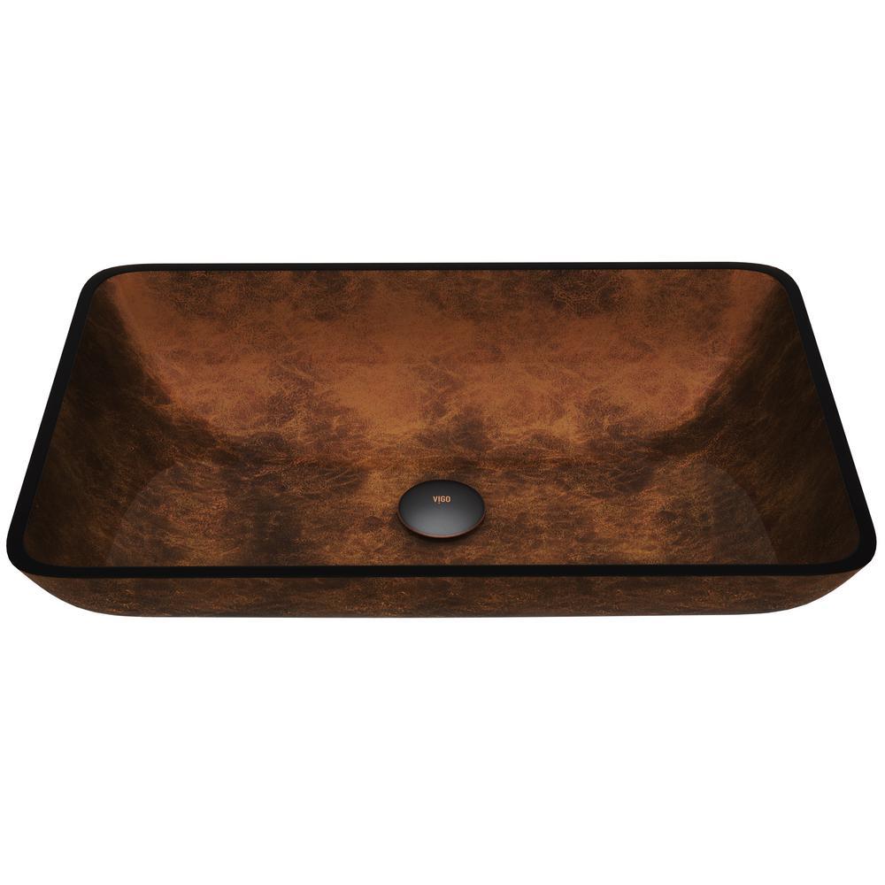 Russet Handmade Countertop Glass Rectangle Vessel Bathroom Sink in Rich Chocolate Brown