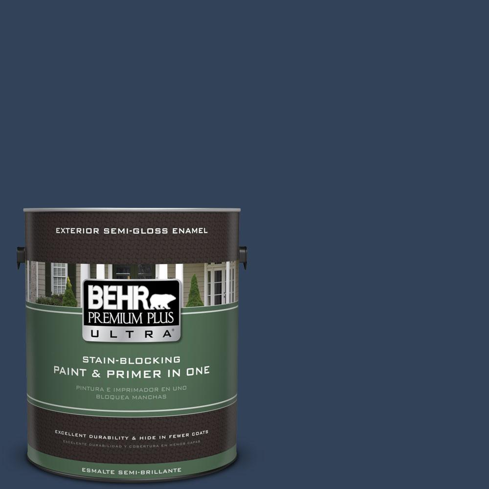 BEHR Premium Plus Ultra 1-gal. #590F-7 Peaceful Night Semi-Gloss Enamel Exterior Paint