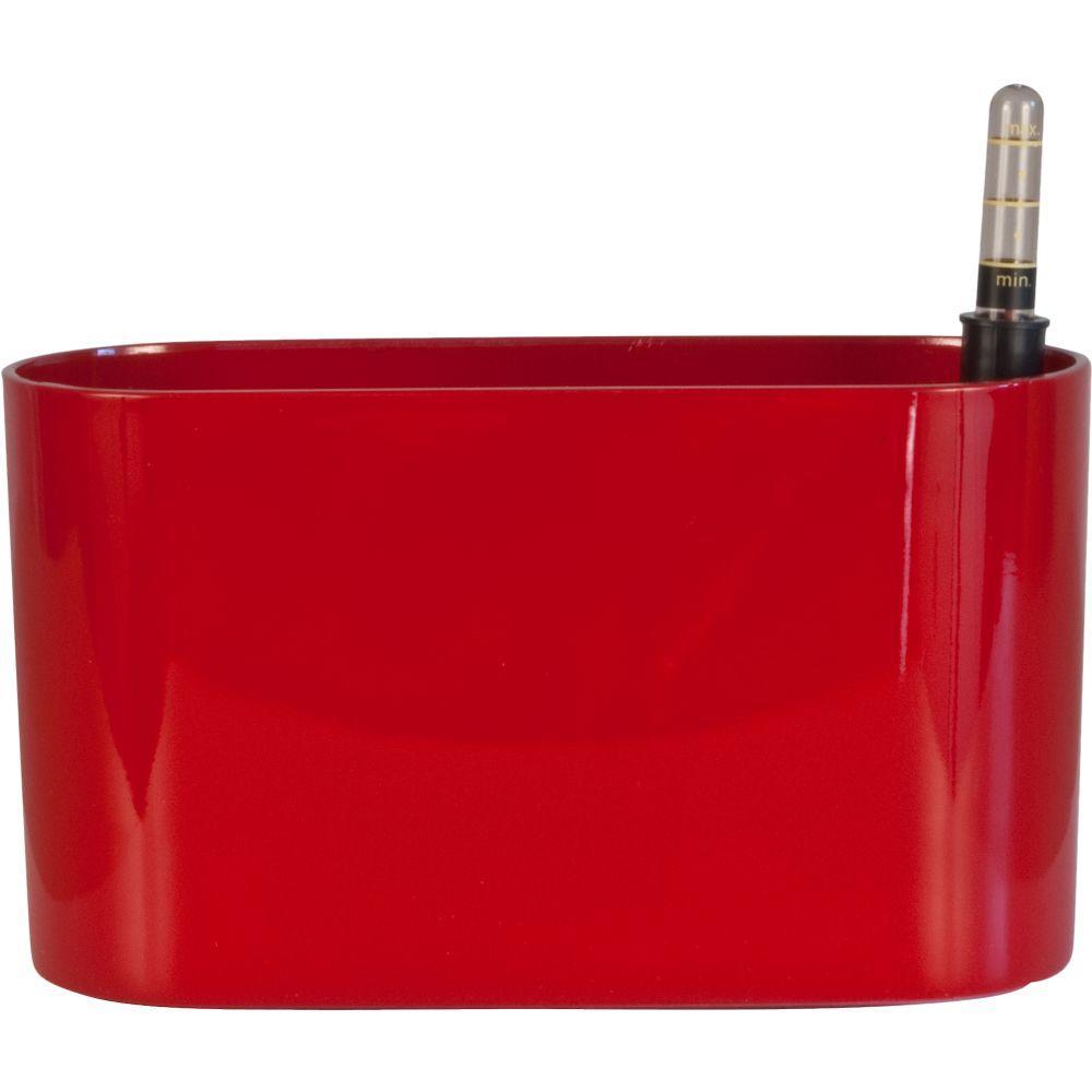 Vesi 4 in. L x 10 in. W x 6 in. H Red Plastic Self-Watering Oval Planter
