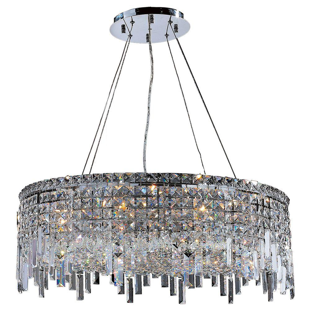 Cascade Collection 12-Light Chrome and Crystal Chandelier