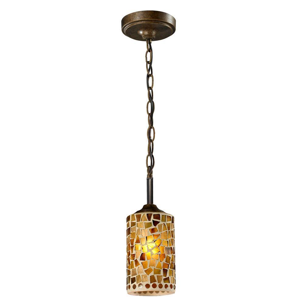 Knighton 1-Light Antique Golden Bronze Mini Pendant with Mosaic Art Glass