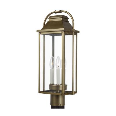 Wellsworth 3-Light Painted Distressed Brass Outdoor Post Light