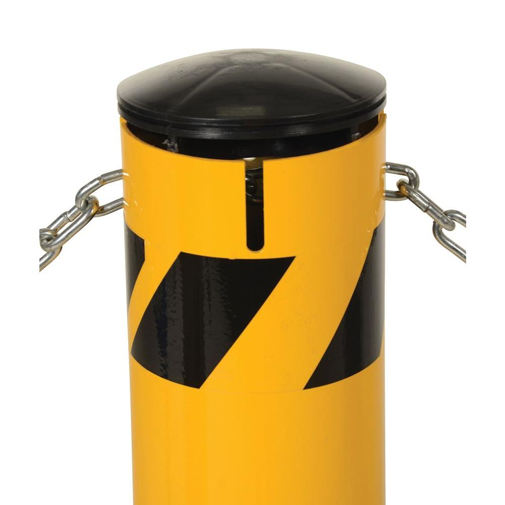 36 in. X 4.5 in. Yellow Steel Pipe Safety Bollard with
