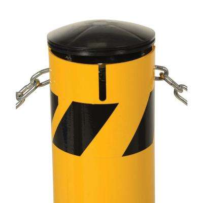 36 in. X 4.5 in. Yellow Steel Pipe Safety Bollard with Chain Slots