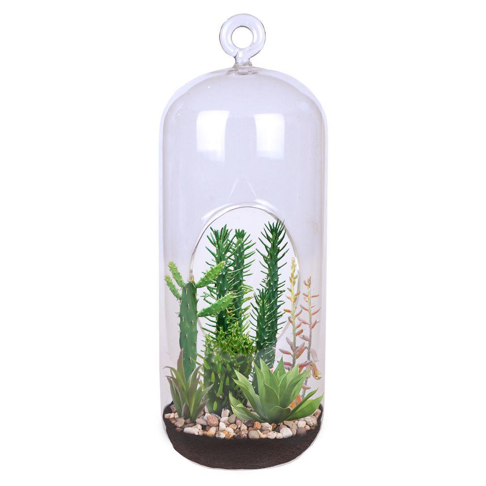 Unique Gardener Carefree Capsule Clear Glass Hanging Succulent