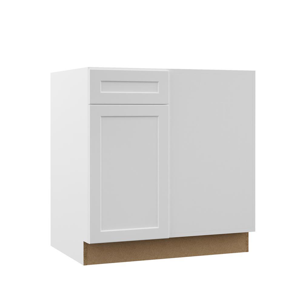 Hampton Bay Designer Series Melvern Assembled 42x34.5x23 in. Blind Corner  Base Kitchen Cabinet in White