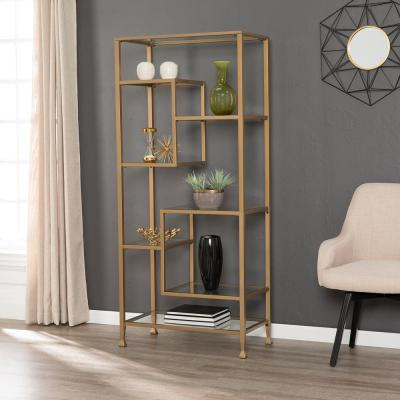 68 in. Gold Metal 7-shelf Etagere Bookcase with Open Back