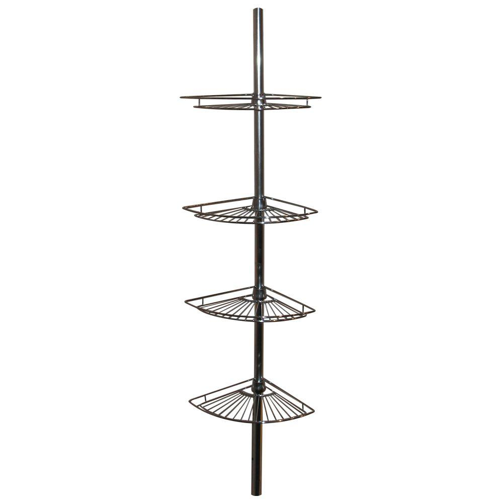 Zenna Home Metal Tension-Mount 4-Shelf Pole Shower Caddy in Chrome ...