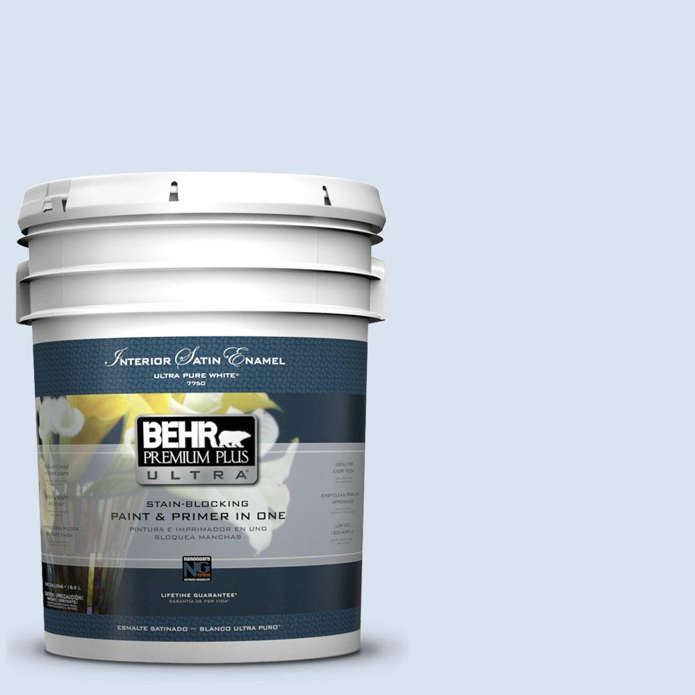 BEHR Premium Plus Ultra 5 gal. #590C-2 Ocean Air Satin Enamel Interior Paint and Primer in One