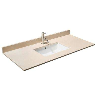 Hatton 48 in. W x 22 in. D Marble Single Basin Vanity Top in Beige with White Basin