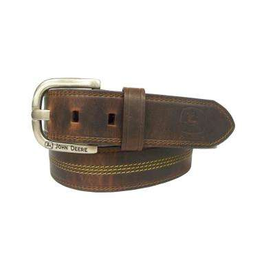 Men's Size 36 Brown Belt with Smooth Nickel Buckle