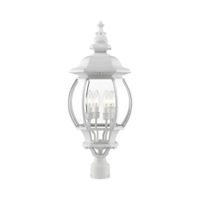 Frontenac 4-Light Textured White Outdoor Post Top Lantern
