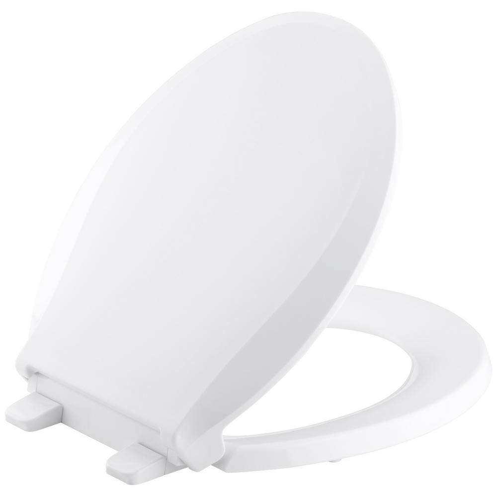 Awesome Kohler Cachet Quiet Close Round Closed Front Toilet Seat With Grip Tight Bumpers In White Customarchery Wood Chair Design Ideas Customarcherynet