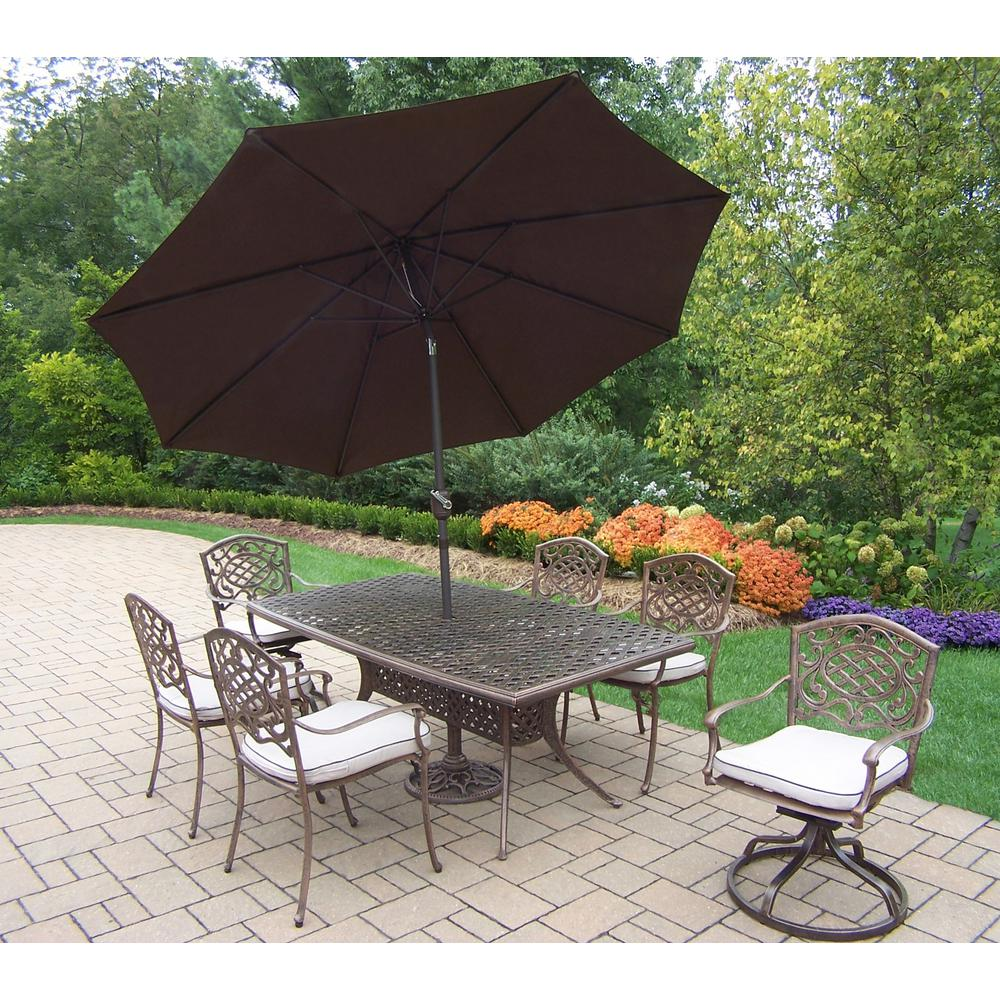 Great modern outdoor furniture 15 home Funky 9piece Aluminum Outdoor Dining Set Oatmeal Cushions And Brown Umbrella Weerklankinfo 9piece Aluminum Outdoor Dining Set Oatmeal Cushions And Brown