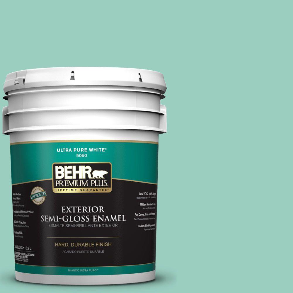 5-gal. #HDC-SM14-6 Thermal Aqua Semi-Gloss Enamel Exterior Paint