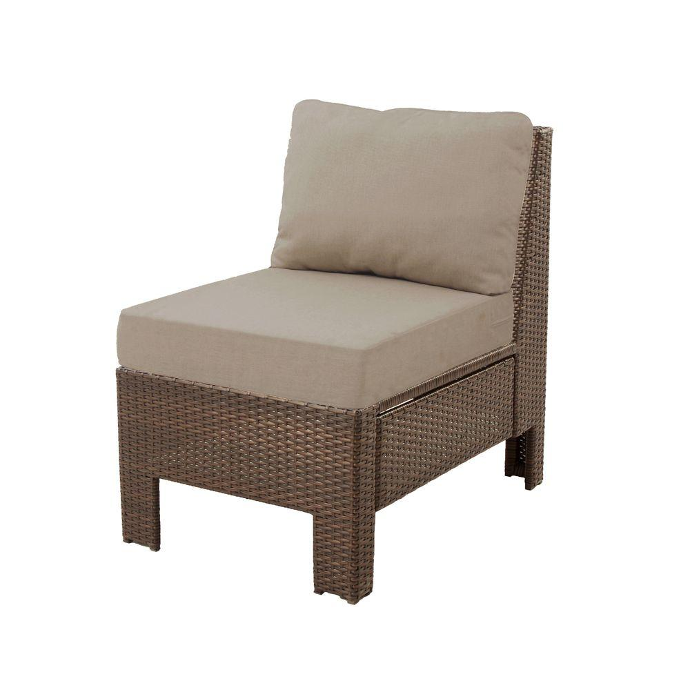 H&ton Bay Beverly Wicker Outdoor Patio Sectional Middle Chair with Beverly Beige Cushion-65-610233M - The Home Depot  sc 1 st  The Home Depot : sectional chair - Sectionals, Sofas & Couches